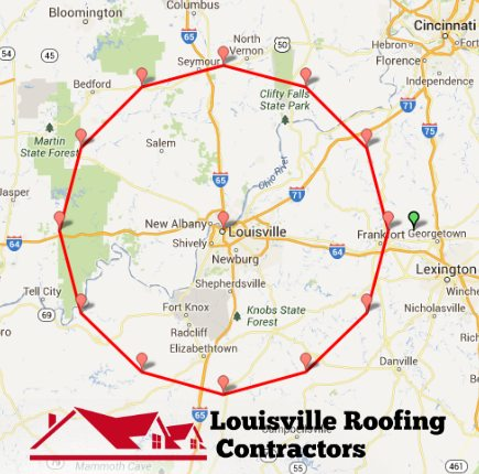 Louisville roofing contractors service area map